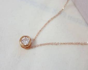CZ solitaire Necklace, Layering Necklace,  necklace, Tiny CZ necklace,Delicate CZ Necklace, Silver Necklace, Gold, Rose Gold filled Necklace