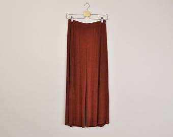 Minimal Leisure Pants, Brown Wide Leg Pants, Vintage Minimal Pants, High Waist Pants, Summer Pants, 90s Minimal Pants, Loose Fit Pants
