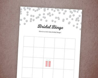 Bridal Bingo Printable, Bingo Cards Game, Silver Confetti, Bachelorette Bingo, Wedding Shower, Shower Games and Activity, Template, A003