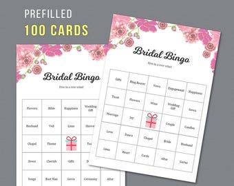 Bingo Prefilled 100 Cards, Pink Floral, Bridal Printable Bingo Cards, Bridal Shower Games, Bachelorette Bingo Game, Wedding Shower, A005