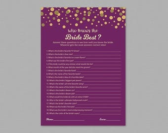 Who Knows The Bride Best Game Printable, How Well Do You Know the Bride to be, purple gold confetti, Wedding Shower, Instant Download, A006