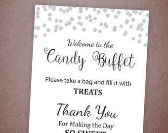Candy Buffet Sign, Printable Candy Bar Sign, Silver Confetti Table Sign, Grab a Treat Sign, Baby Shower, Gray Dots Bridal Shower Decor, A003