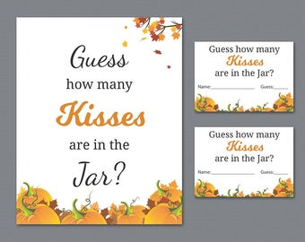 Guess How Many Kisses are in the Jar, Bridal Shower Games Printable, Pumpkin Fall Leaves, Autumn Theme, Wedding Shower, Candy Guess, A022