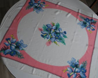 Vintage Tablecloth Large Blue Flowers with Pink and White Background