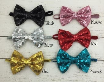 Newborn Handmade Luxe Kids Shiny Sequin Bow Headbands With Glitter Elastic Band For Girls Hair Accessories