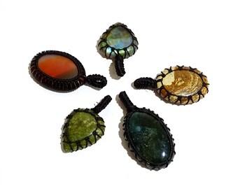 5 Piece Natural Stone Thread Pendent Gemstones, Thread Pendant Handmade Gemstone, jewelry Pendant | G3939