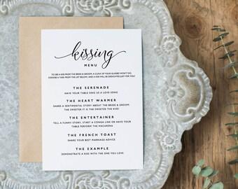 Printable Kissing Menu Template, Printable Wedding Games, Wedding Kissing Menu, Wedding Table Games, Kissing Menu Printable - KPC07_408