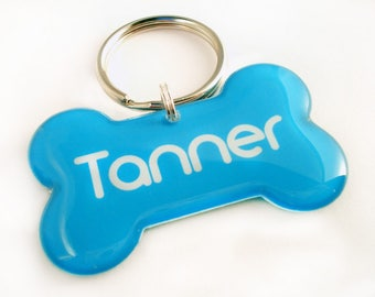 Dog Bone Pet Id Tag - Blue