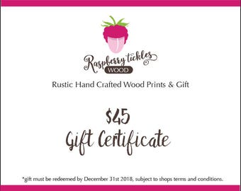 GIFT CARD 45 USD - Buy Gift Certificate - Last Minute Gift - eGift Card - Buy Gift Card - Gift Card - Print at Home - Custom Gift