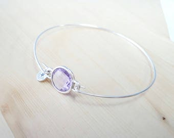 Silver bracelet with Crystal Lavender. Silver Bracelet with Crystal Lavender.