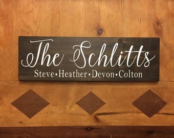 "Family Sign | Family Name Sign | Wood Family Sign | Family member sign | Rustic Family Sign 8"" x 24 """