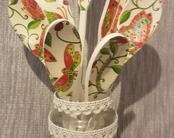 Decoupage Wooden Spoons - The Butterfly, Dragonfly & Caterpillar with matching Crochet Trim