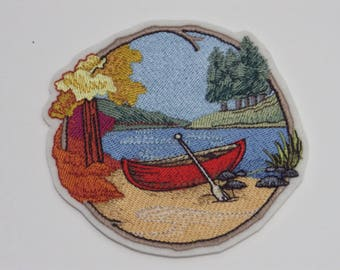 Outdoor Iron-On Patch. Embroidered Patch. Sew-on Patch. Glue-on Patch. Camping Lovers Patch. Walk in Woods Canoe Patch