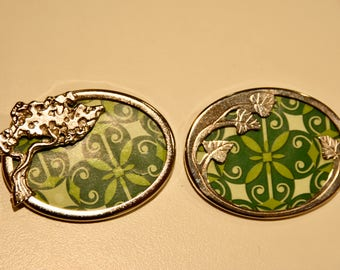 Set of 2 Matching Vintage Brooches Silver Tree and Leaves and Green Pattern Best Friend Gift for Teens, Women, Ladies, Kids, Girls