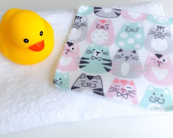 Face Washer - Cat Wash Cloth - Cloth Wipes - Kids Wash Cloth - Eco Friendly - Baby Bath Accessory - Baby Wash Cloth - Baby Shower Gift