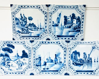 Five lovely vintage English delft style blue and white tiles