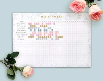 Habit Tracker PRINTABLE, Goal Planner, Productivity planner, Daily Habits Planner, Marble Planner, Habit planner, Marble Gold Goals Tracker