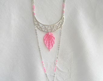 """Necklace silver multiposition neon pink origami - """"Boho"""" Collection"""