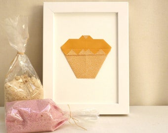 """Hanger - origami Cupcake - mustard and white polka dots - Collection """"My delicacies"""""""