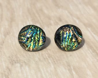 Dichroic Fused Glass Stud Earrings -  Rainbow Starburst Dichroic Studs with Solid Sterling Silver Posts