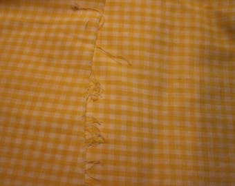 19 Vintage Yellow gingham. Cotton.