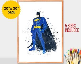 Batman watercolor print, Batman art, Superhero, batman printable, batman print, batman wall art, dc comics, batman wall decor,
