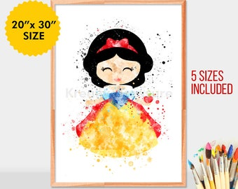 Baby Snow White, disney princess Watercolor, Art Print, Nursery Wall decor girl Print Princess art, snow white gifts, gift for her