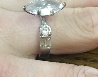 Sterling Silver 925 Cubic Zirconia? Solitaire Engagement Style Ring