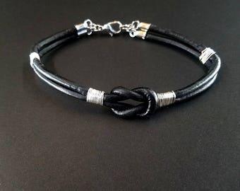 Black leather bracelet, leather bracelet, mens leather bracelet, mens bracelet, men gift, gift under 20, boyfriend gift, jewelry, husband
