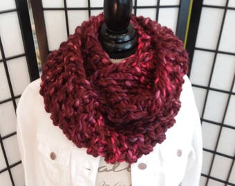 Super Chunky, handmade, knitted Infinity Scarf .