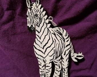 wooden zebra ornament