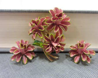 Vintage Pink Enamel Flower & Clip-On Earrings Set
