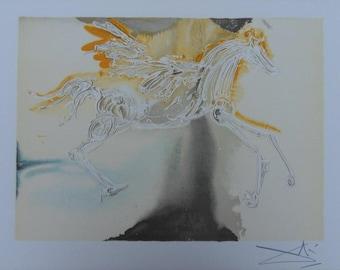 Salvador DALI - Pegasus - lithograph + dry stamp