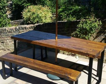 Industrial outdoor table and bench set