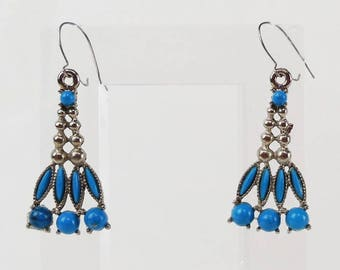Vintage 1970's Faux Turquoise Southwest Style Pierced Earrings