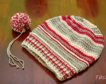 Crocheted Beanie hat with PomPoms