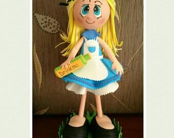Hand crafted Ooak Cute Alice in wonderland fofucha, cute Alice gift, Alice art doll