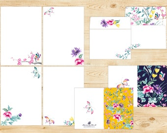 Asian Butterfly Garden Printable Stationery INSTANT DOWNLOAD