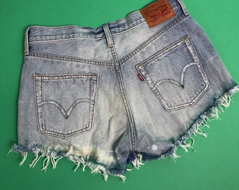 Vintage Levi's 501 Cut Off Denim High Waisted Festival Shorts W28 / UK 8-10