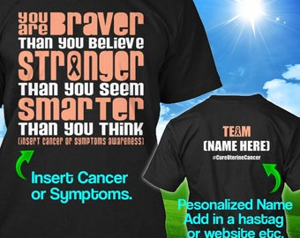 Personalized Uterine Cancer Awareness Tshirt Peach Ribbon Braver Support Survivor Custom T-shirt Strong Apparel Unisex Women Youth Kids Tee