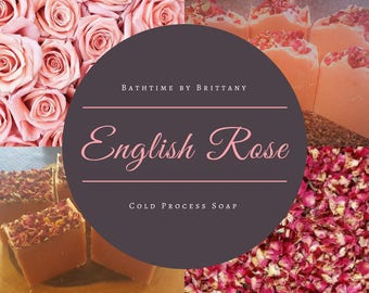 English Rose Cold Process Soap | Handmade | Artisan Soap | Goat Milk | Vegan | Gifts for Her | Floral Soap | Shea Butter | Coconut Oil