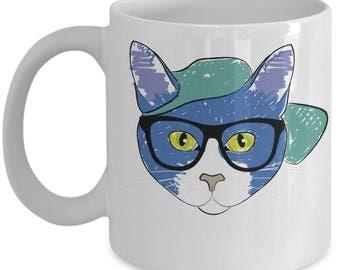 Cat in Glasses Art Mug