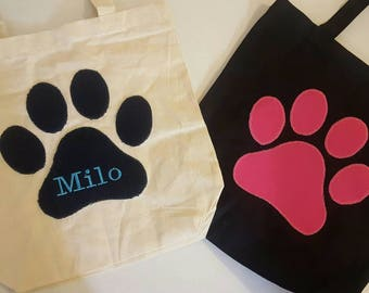 Custom Paw Print Tote Bag