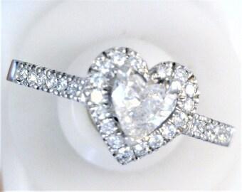 Romantic Heart Shaped Wedding Fit Diamond Ring In Palladium.