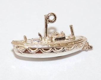 Vintage Harbor Light Ship Sterling Silver Bracelet Charm / 3d Detail (2.4g)