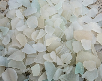 Scottish Beachcombed Sea Glass: Opaque/White Sea Worn Pieces for Crafts/Mosaics 100g