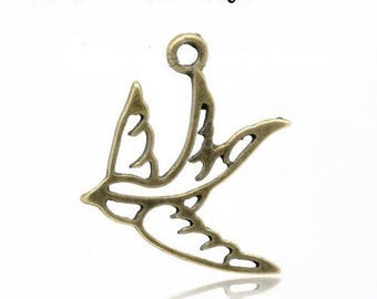 set of 10 (T02) Bronze swallow bird charms