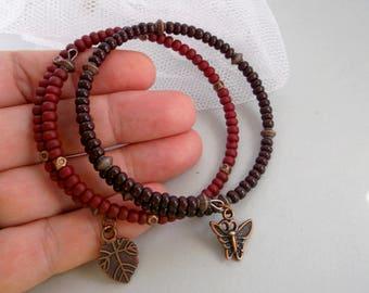 Ladies Bracelets Brown bracelets Seed Beads Bracelets Friendship bracelets Two bracelets JewelrymagicBox Copper bracelets For Her For Women