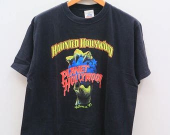 Vintage PLANET HOLLYWOOD Haunter Hollywood Halloween 97 Black Tee T Shirt Size L