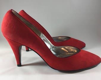 Vintage, Delman, New York Paris Rome, Red Suede Shoes, High Heels, Pumps, Size 7 1/2
